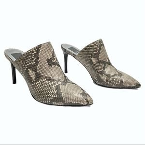 Dolce Vita snakeskin Leather mules point toe gray